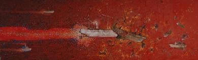"""<h5>Ivan Listeš</h5><p>""""Viška bitka"""" Akril i  ulje na platnu, 50 x 150 cm         Cijena: 10.400,00 kn </p>"""