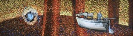 """<h5>Ivan Listeš</h5><p>""""Instruzioni"""" Akril i ulje na platnu, 21x80 cm cijena: 2.600,00 kn </p>"""