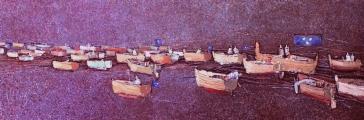 """<h5>Ivan Listeš</h5><p>""""Whoomp"""" Akril i ulje na platnu, 50 x 160 cm          Cijena: 9.100,00 Kn </p>"""