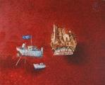 """<h5>Ivan Listeš</h5><p>""""Naopako"""" Akril i ulje na platnu, 90 x 110 cm      Cijena: 8.450,00 Kn</p>"""