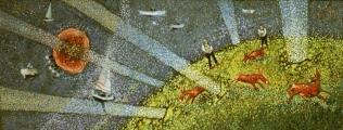 """<h5>Ivan Listeš</h5><p>""""Gornje i donje selo"""" Akril i ulje na platnu, 40x120 cm Cijena: 6.500,00 kn </p>"""